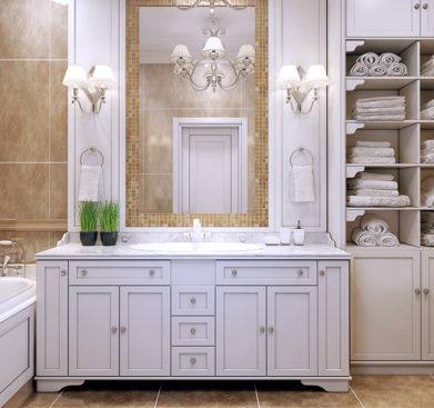 Elegantní retro koupelna s hnědými obklady