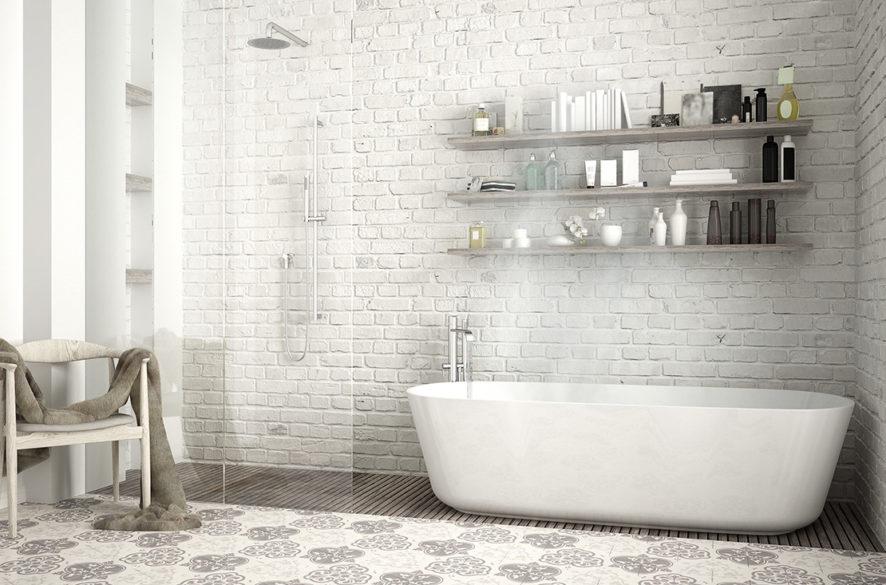 Koupelna ve skandinávském stylu s bílými cihlami